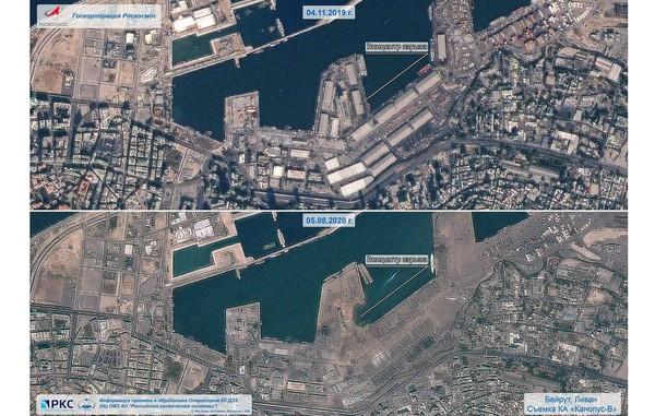 Порт Бейрута до и после взрыва. Фото: Роскосмос.